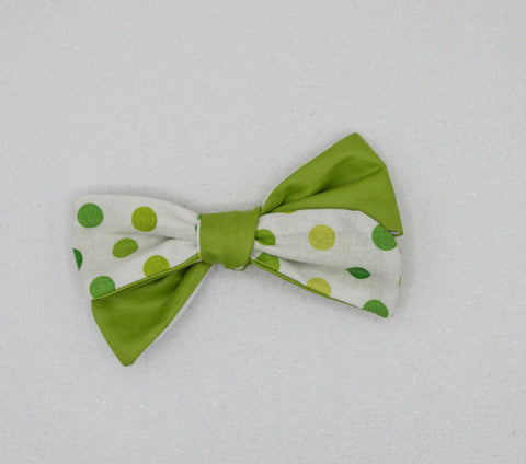 Vintage green & dots River Bow - MTL