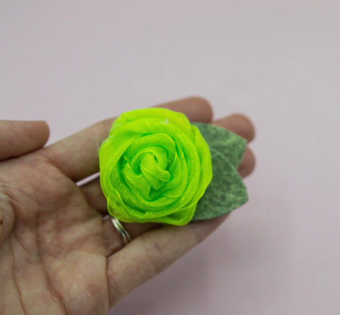 Vintage green neon rose - 2.5 inch- MTL