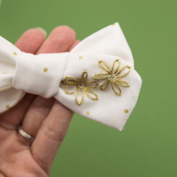 OOAK Embroidered 2 gold flowers bow hoc