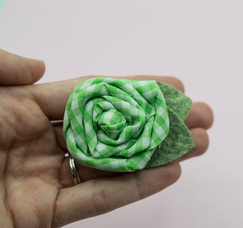 Vintage green gingham rose - 2.5 inch- MTL