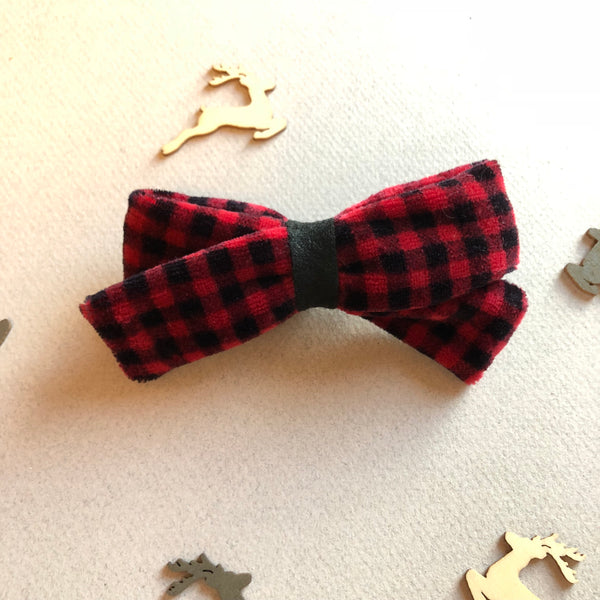 Vintage velvet Buffalo Plaid Bow - 4 inch River bow