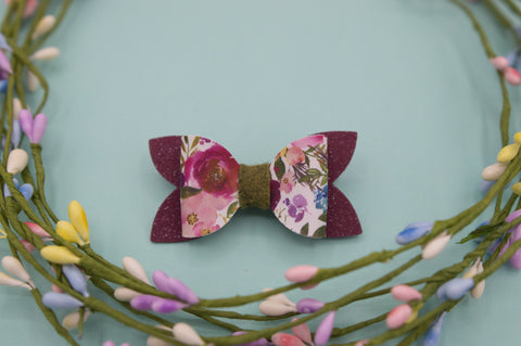 Purple shimmer floral Zoe Bow - HOPE