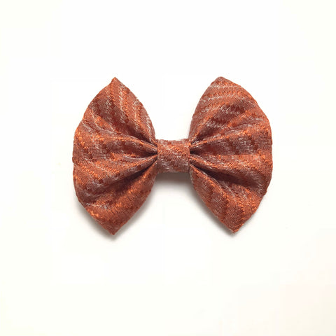 3 inch fall bronze shimmer tan bow