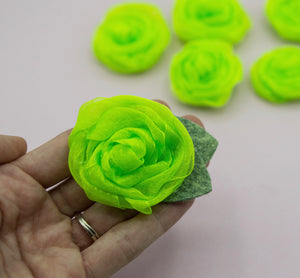 Vintage green neon rose - 3 inch- MTL
