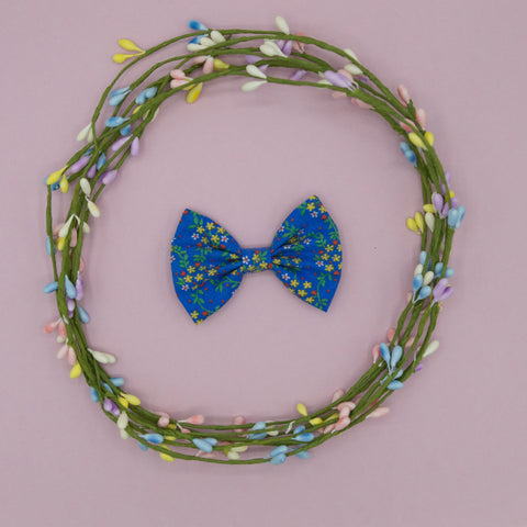 Bright blue floral bow tie - HOPE