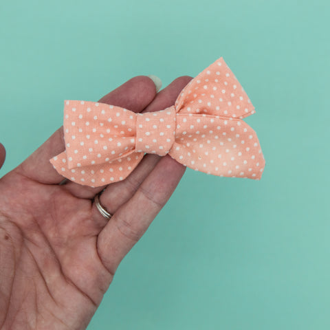 Orange creamsicle dotted Swiss Elloise Bow 3 inch - vintage - M21 -