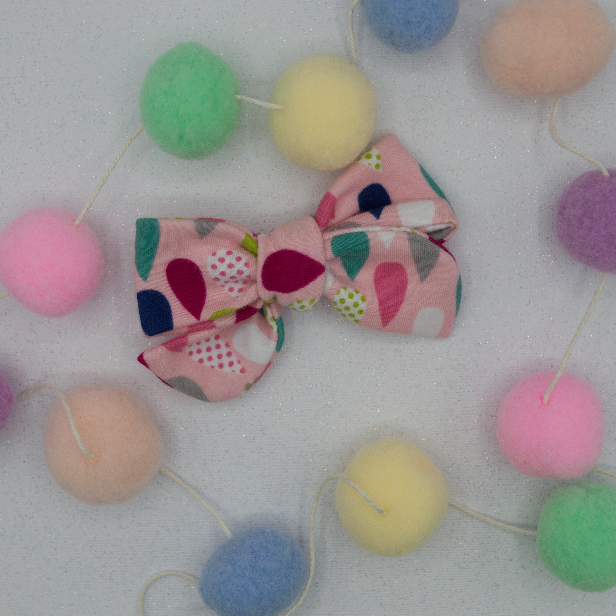 Pink raindrop Elloise Bow 4inch - HOPE SS3
