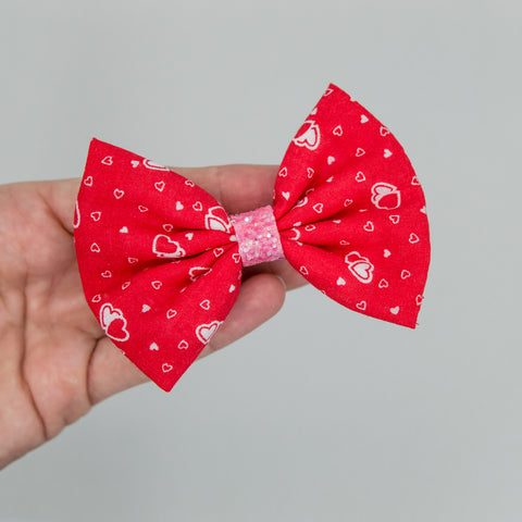 Red tiny white heart vintage 3.5 inch Bow-  kind atd