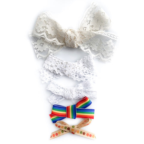 Rainbow lace fall bows