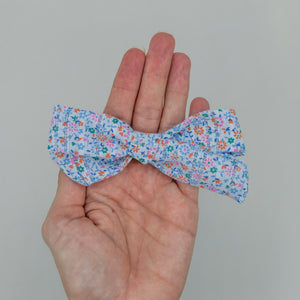 Blue tiny floral vintage  4 inch River Bow- ATD kind