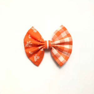 3 inch fall orange plaid and floral bow