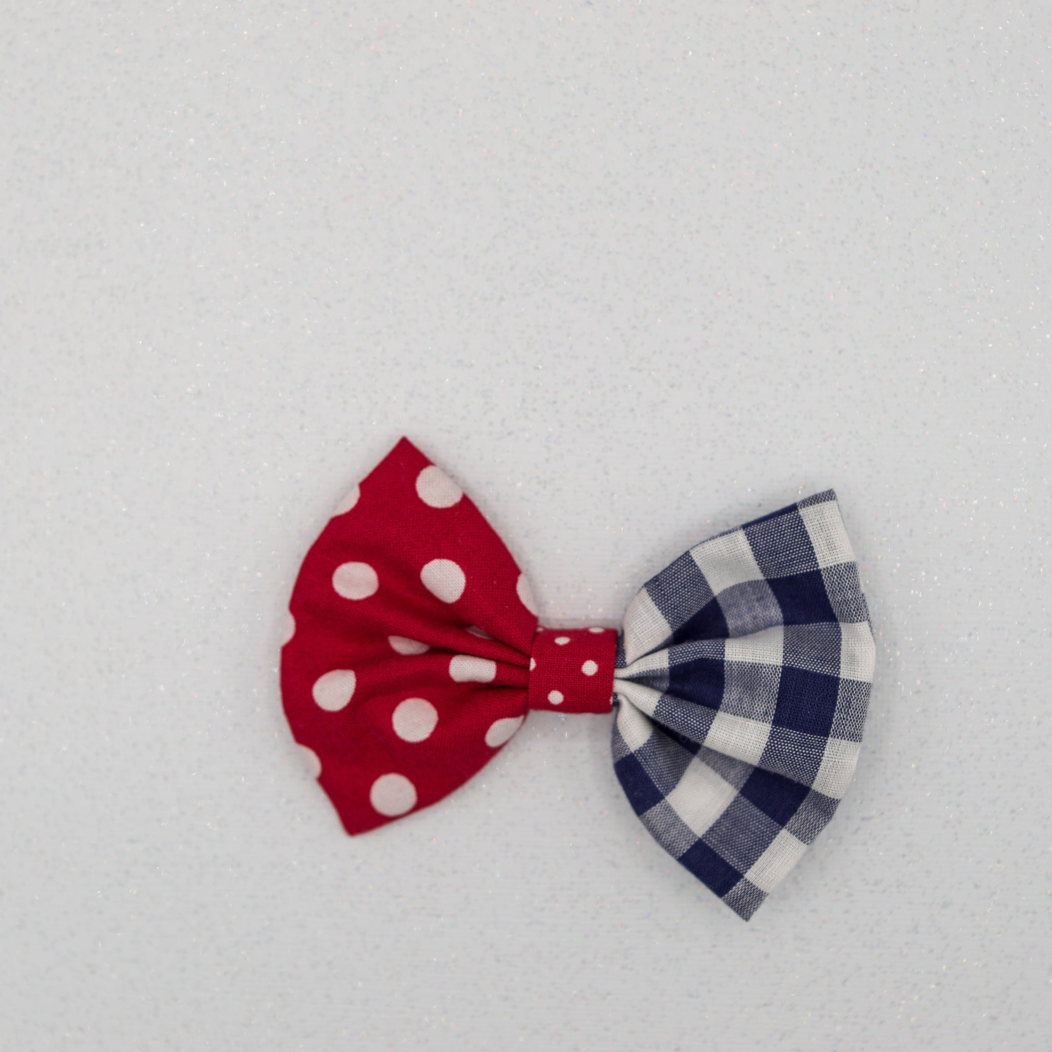 Dots and plaid 4 inch bow- LFR