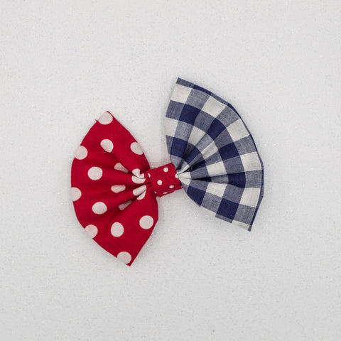 Copy of Dots and plaid 4 inch bow- LFR