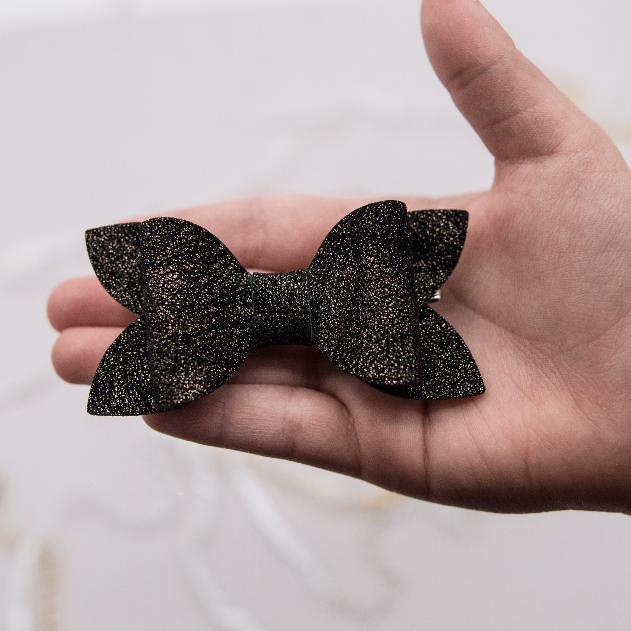 Brushed black gold shimmer velvet Zoe Bow - 2020