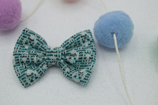 Turquoise knit vintage bow tie - HOPE