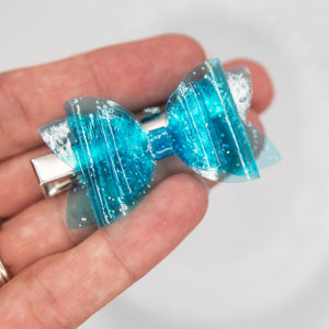 Blue sparkle jelly Juniper bow - 2.5 inch - LFR