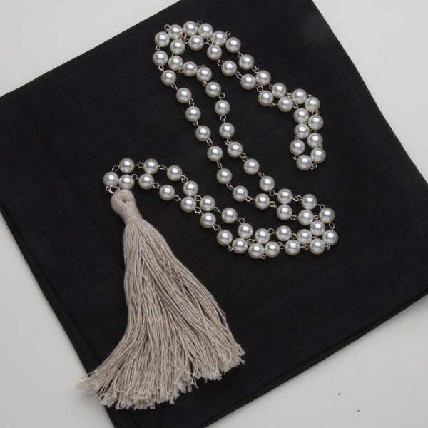 pearl necklace with linen tassle
