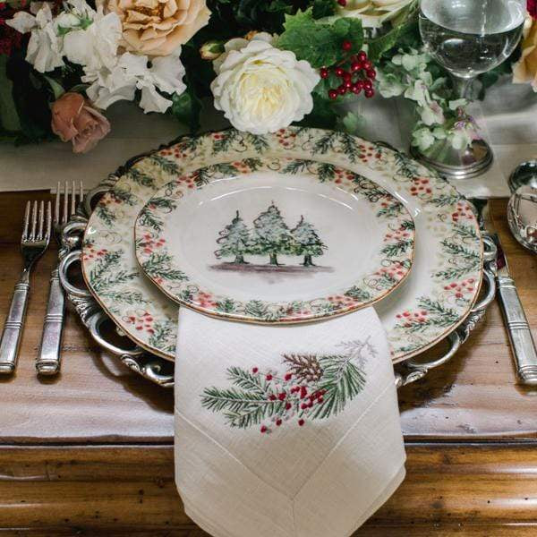 Crown Linen Designs Arte Italica Natale Dinner Plate