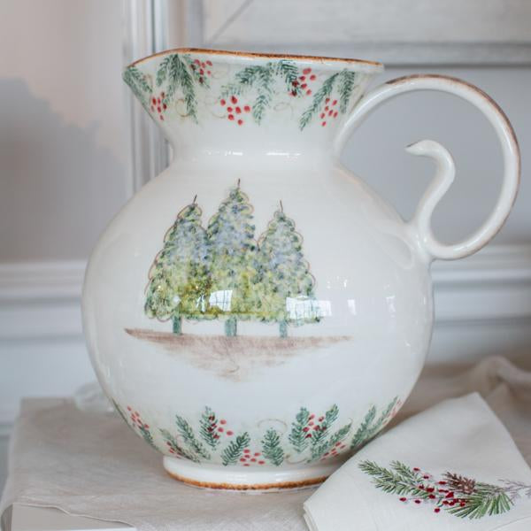 Crown Linen Designs Arte Italica Natale Large Pitcher
