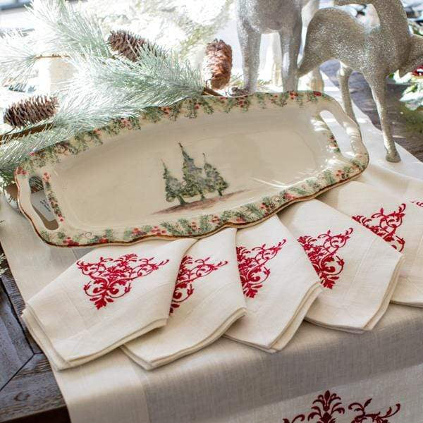 Crown Linen Designs Arte Italica Natale Long Rectangular Tray with Handle