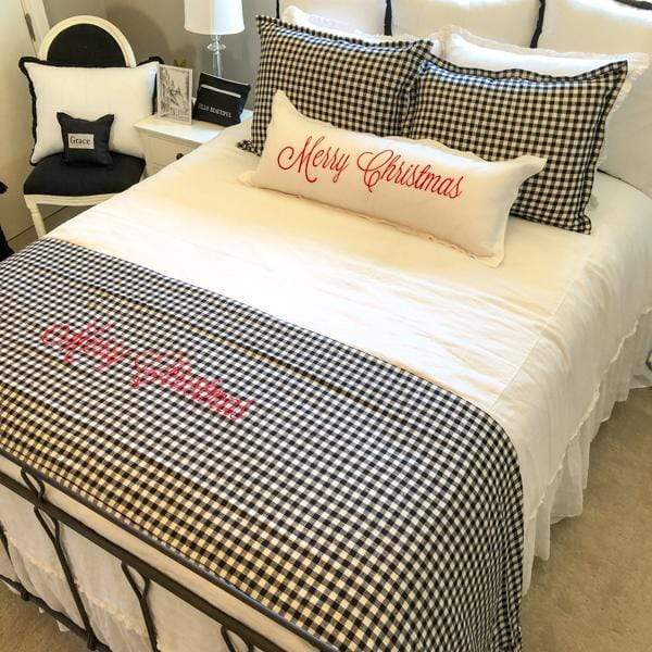 Crown Linen Designs Bed Scarves Checkered Black (Red) / Ruffle Merry Christmas Checkered Linen Bed Scarf