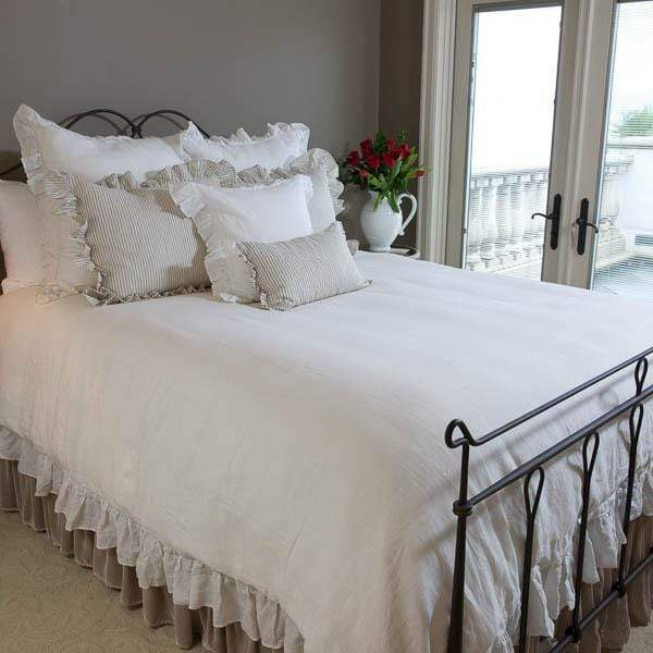 Crown Linen Designs Bedspreads and Duvets Washed Linen Duvet Cover with Ruffle