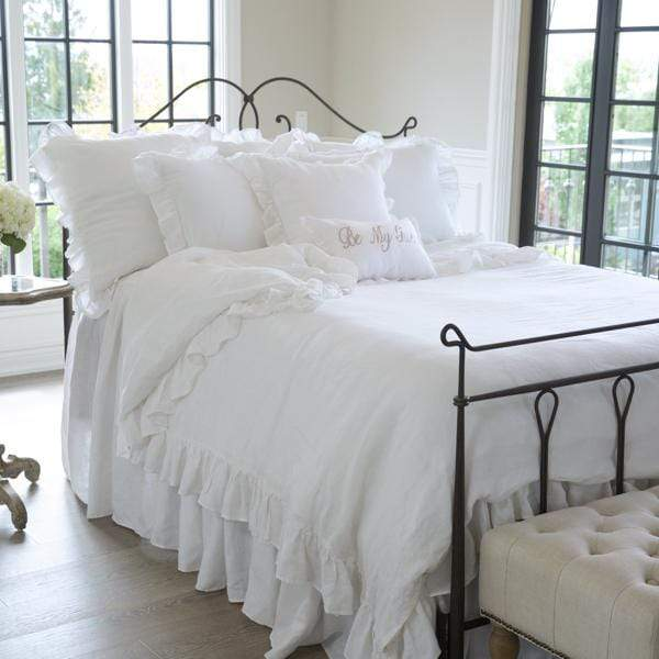 Crown Linen Designs Bedspreads and Duvets White / King Washed Linen Duvet Cover with Ruffle