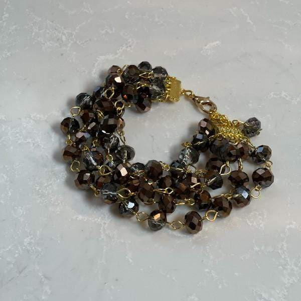 Crown Linen Designs Bracelet, Five Strand Crystal, Bronze