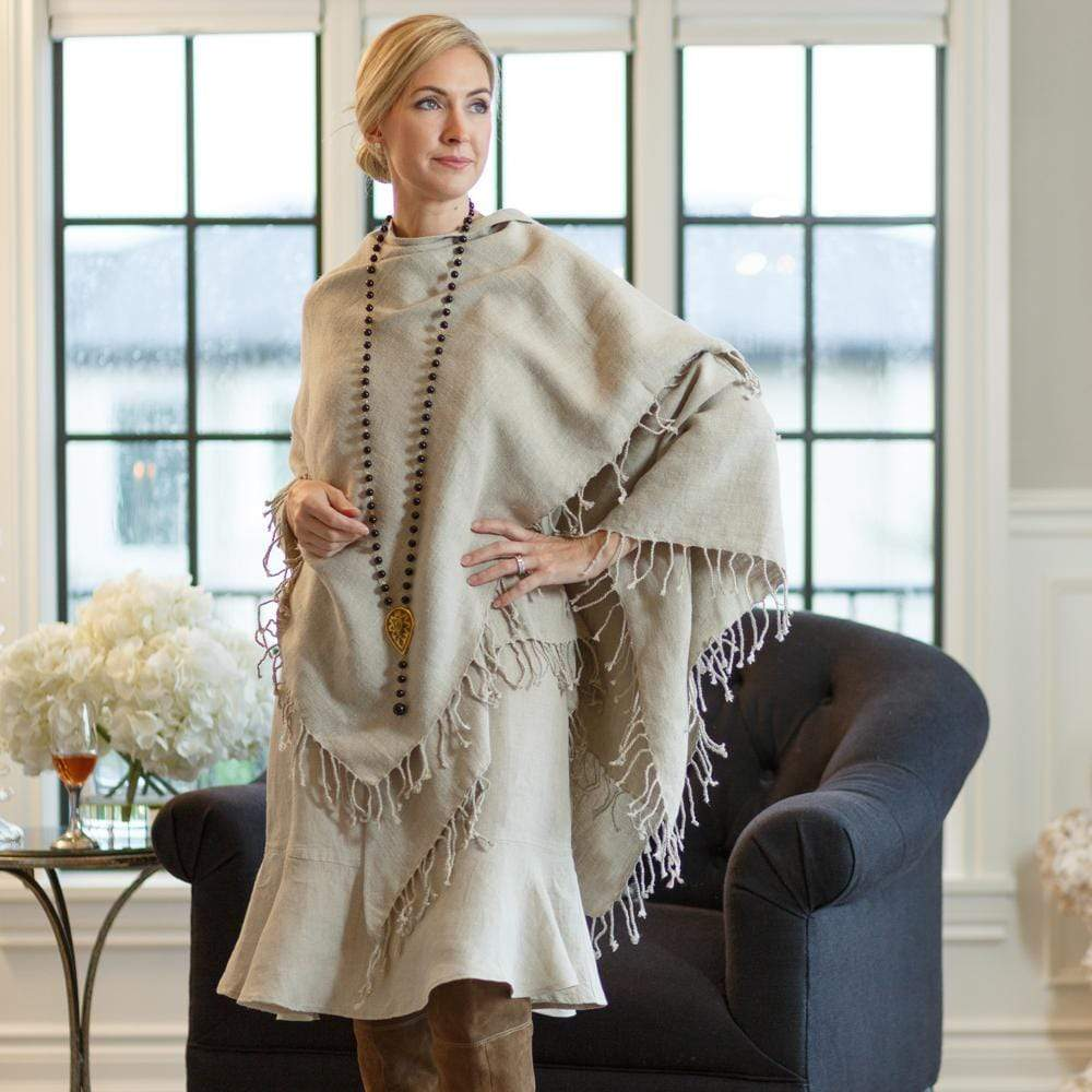 Crown Linen Designs Coats and Wraps Square Russo Linen Wrap (Square with Fringe)