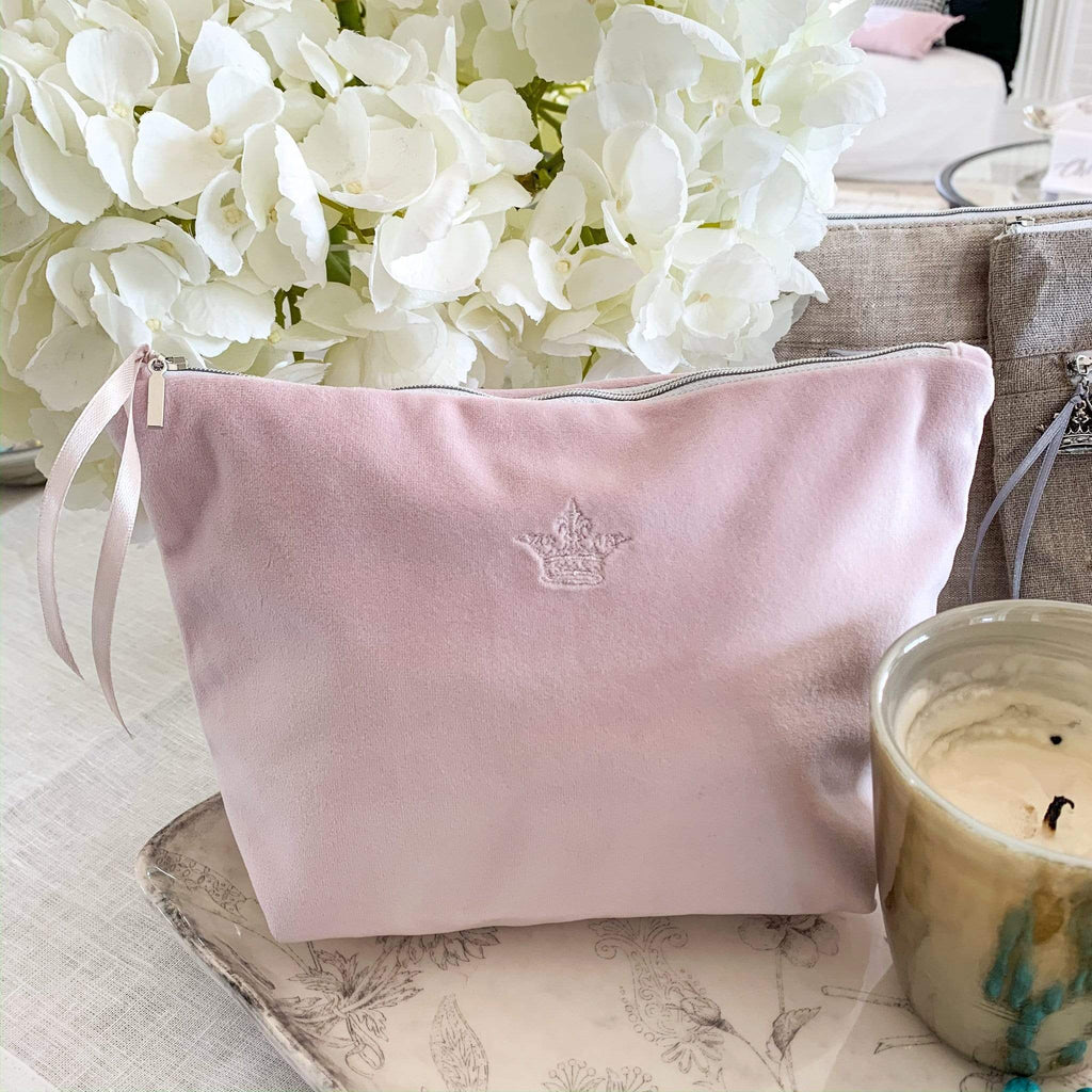 Crown Linen Designs Cosmetics & Essentials Bags Dusty Pink (Pink) Crown Velvet On The Go Bag