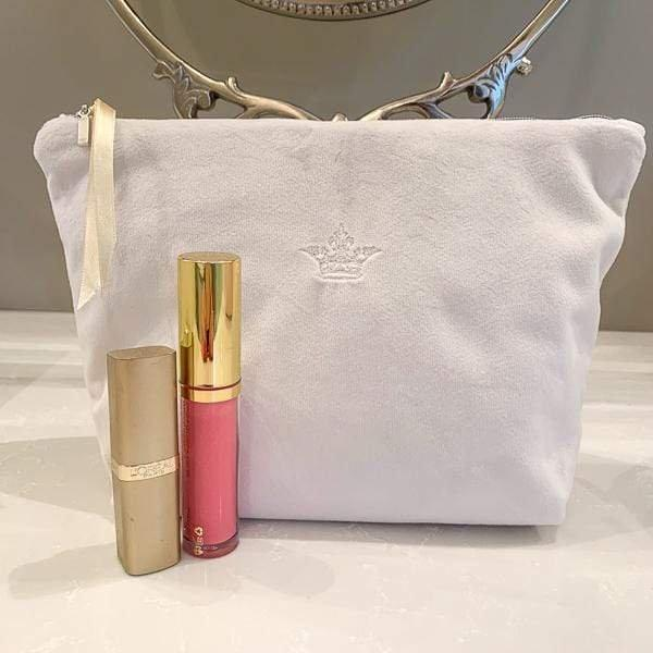 Crown Linen Designs Cosmetics & Essentials Bags Off White (Champagne) Crown Velvet On The Go Bag