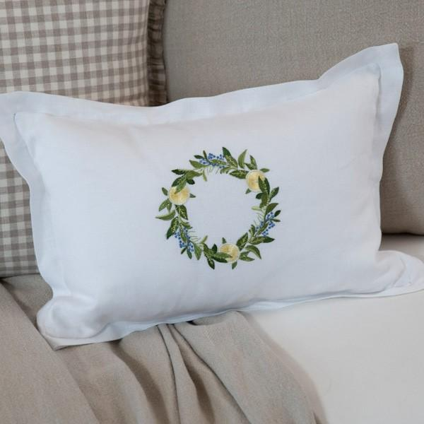 Crown Linen Designs Décor Pillow, Lemon Wreath, White (Multi), Frame