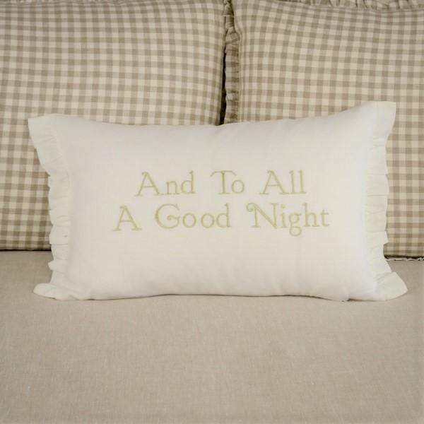 Crown Linen Designs Decor Pillows White (Gold) / Ruffle And To All A Good Night Linen Decor Pillow