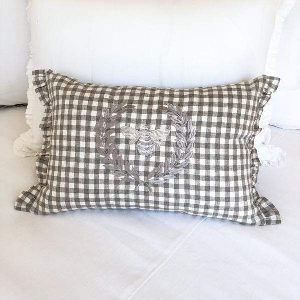 Crown Linen Designs Decor Pillows Checkered Taupe (Taupe) Checkered Bumble Bee Linen Decor Pillow