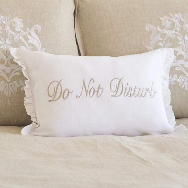 Crown Linen Designs Decor Pillows White (Taupe) / Ruffle Do Not Disturb Linen Decor Pillow
