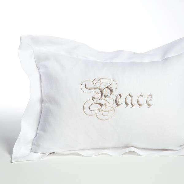 Crown Linen Designs Decor Pillows White (Taupe) / Frame Peace Linen Decor Pillow