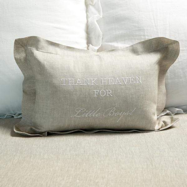 Crown Linen Designs Decor Pillows Flax (White) / Frame Thank Heaven For Little Boys Linen Decor Pillow
