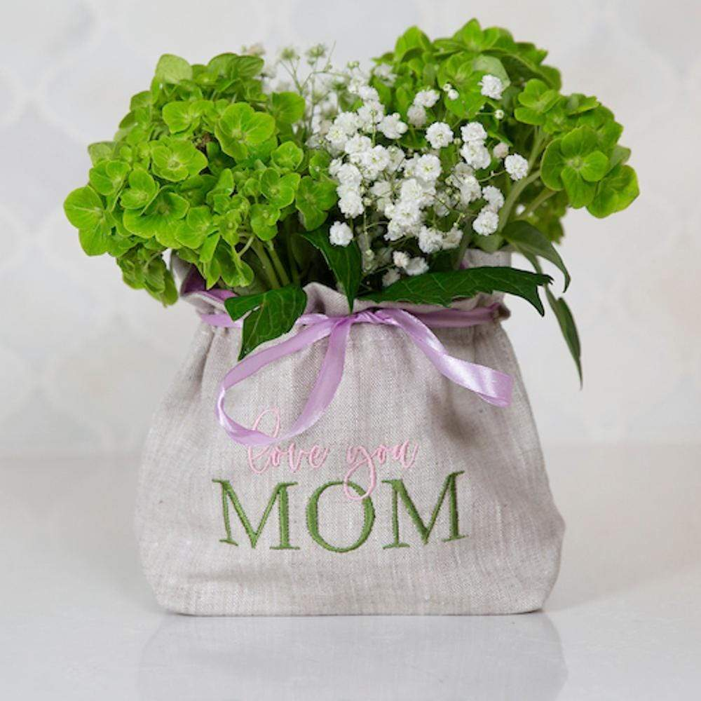Crown Linen Designs Flower Bag, Love You Mom, Flax (Multi)