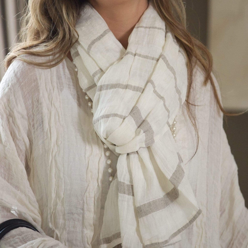 Crown Linen Designs Jewelry and Accessories Ivory/Flax Crinkle Linen Striped Scarf