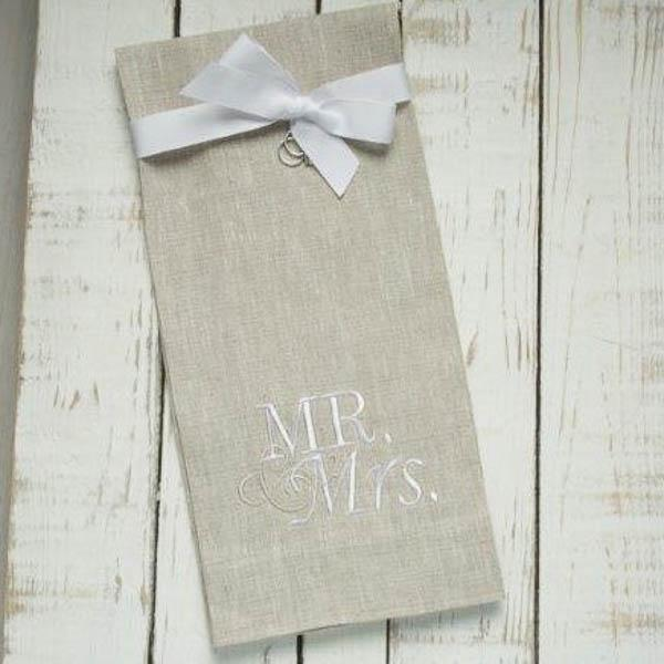 Crown Linen Designs Flax (White) Mr & Mrs Towel