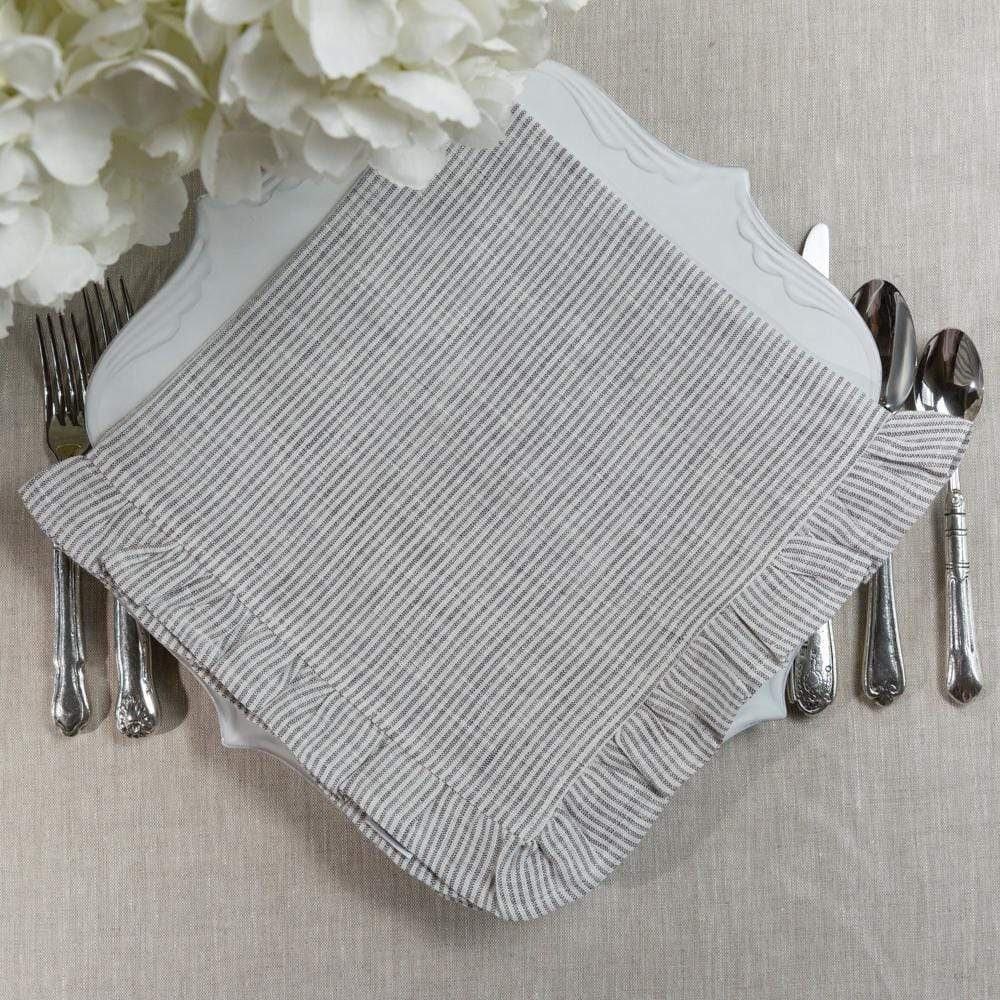 Crown Linen Designs Napkins Grey Pinstripe Large Napkin