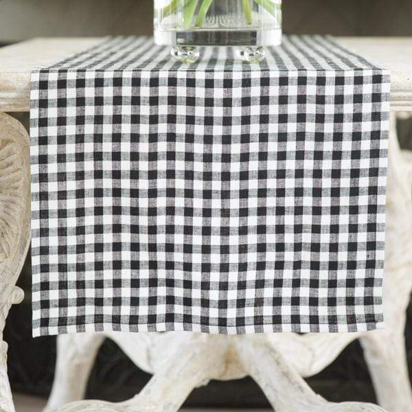 "Crown Linen Designs Table Runners Checkered (Black) / 90"" Black Checkered Linen Table Runner 17"" Wide"