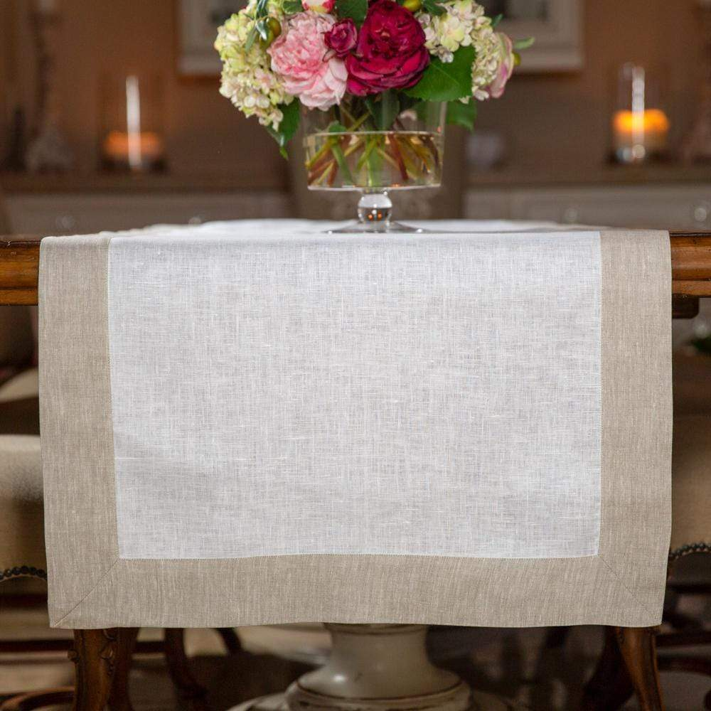 "Crown Linen Designs Table Runners Cream with Flax Frame Linen Table Runner - 22"" Wide"