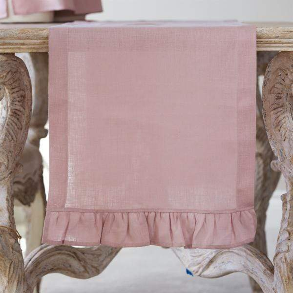 "Crown Linen Designs Table Runners Dusty Pink / 90"" Dusty Pink Linen Table Runner - 17"" Wide"