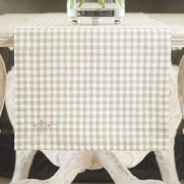 "Crown Linen Designs Table Runners Checkered (Taupe) / 90"" Taupe Checkered Linen Table Runner - 17"" Wide"