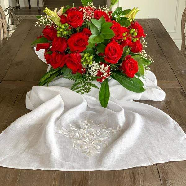 "Crown Linen Designs Table Runners White (White) Victorian Scarf Table Runner - 22"" Wide"