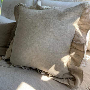 Provence Linen Throw Pillow with Ruffle