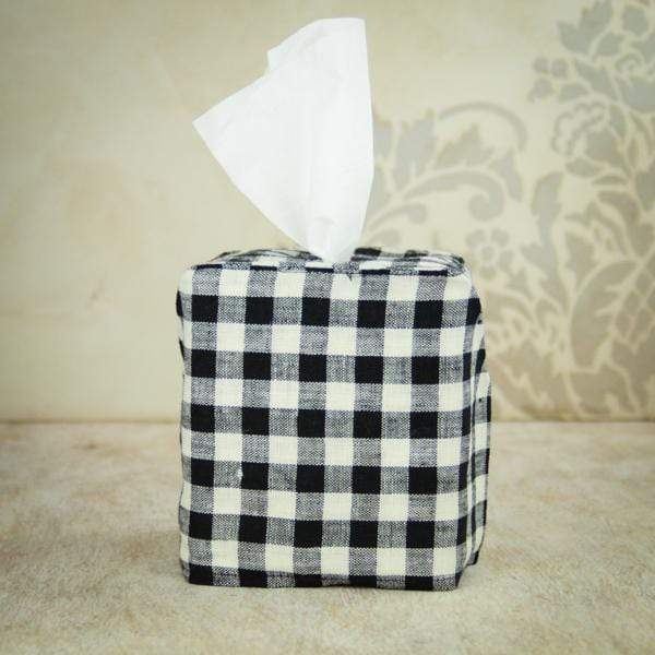 Crown Linen Designs Tissue Box Covers Black Checkered Black Checkered Tissue Box Cover