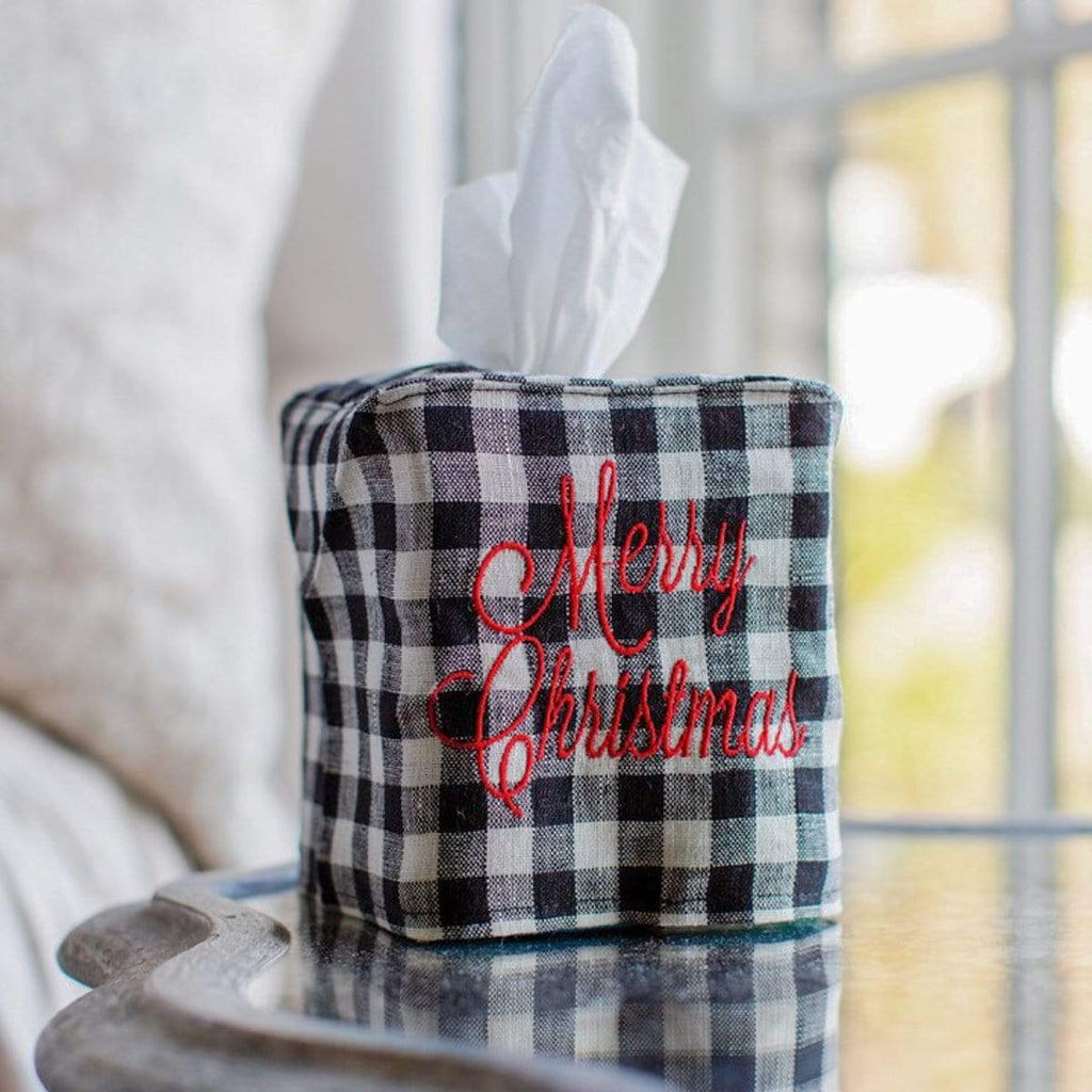 Crown Linen Designs Tissue Box Covers Black Checkered (Red) Merry Christmas Tissue Box Cover