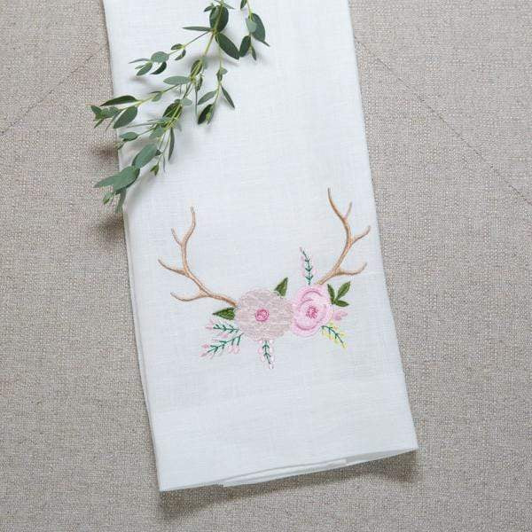 Crown Linen Designs Towels Antlers with Flowers Linen Towel